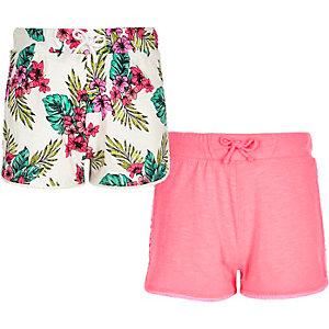 Pinke Shorts mit tropischem Muster, Set