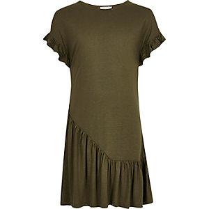 Girls khaki asymmetric frill smock dress