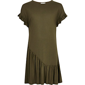 Girls khaki asymmetric frill smock dress