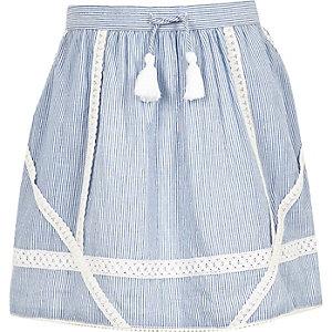 Girls blue stripe lace trim skater skirt
