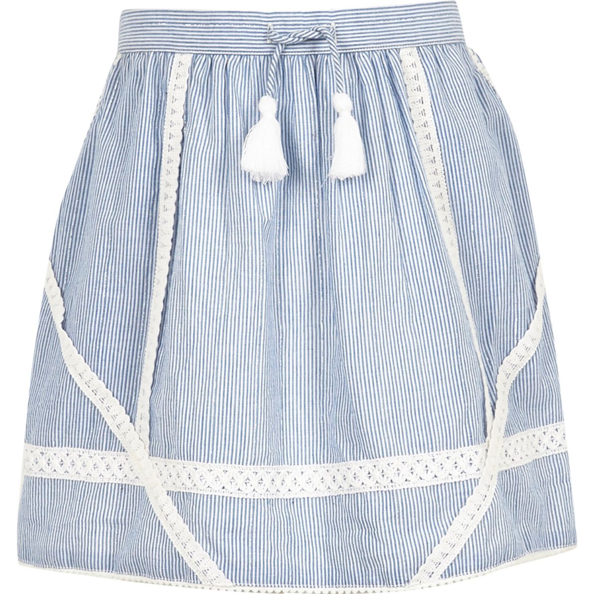 Girls blue stripe lace trim skater skirt