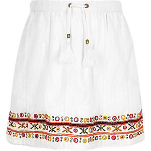 Girls white bead embellished skater skirt