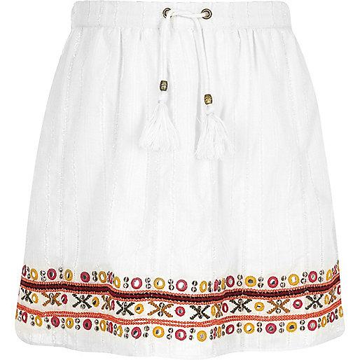 Girls white bead embellished skater skirt