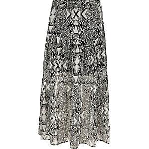 Jupe longue imprimé monochrome noire pour fille