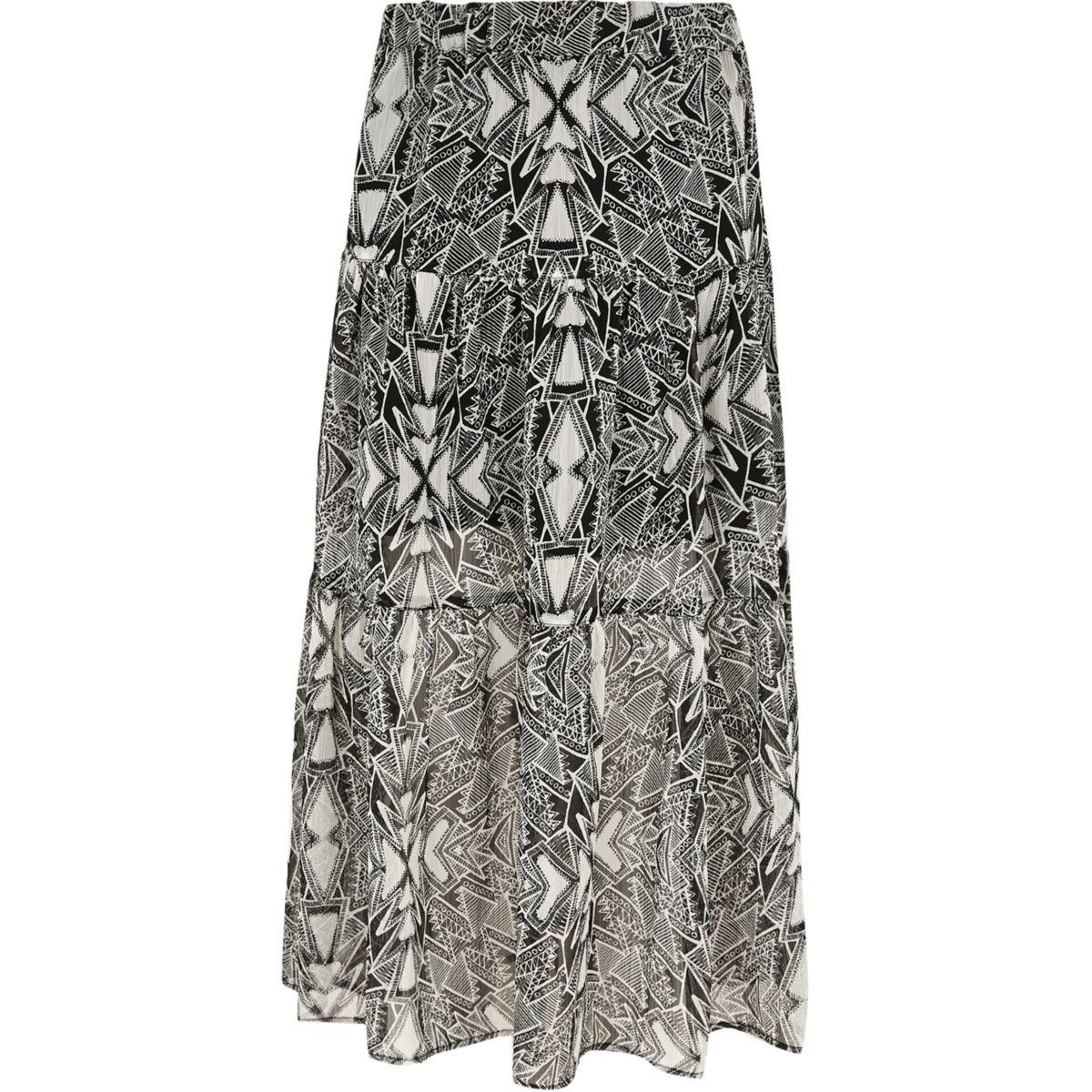 Girls black mono print tiered maxi skirt