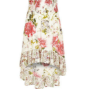 Girls white floral high-low hem maxi skirt