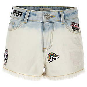 Girls blue dip dye badged denim shorts