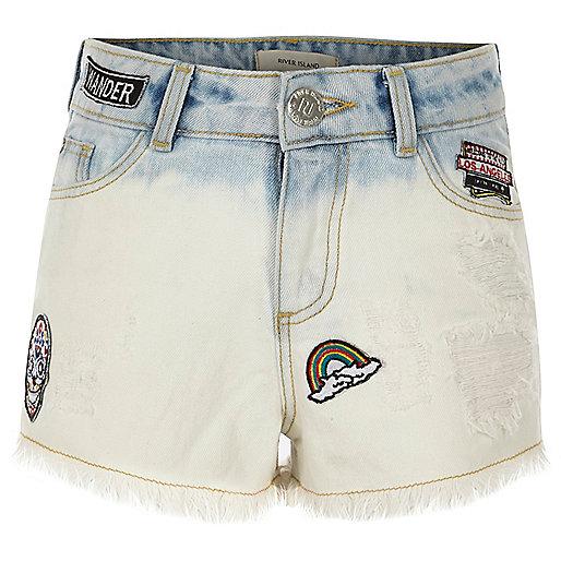 Girls blue dip dye badged denim shorts