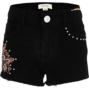 Girls black embroidered stud shorts