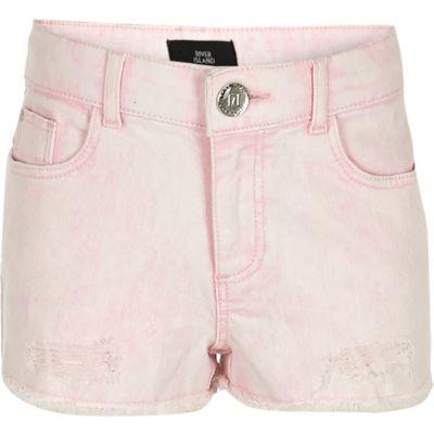Roze denim boyfriend short voor meisjes