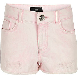 Girls pink denim boyfriend shorts