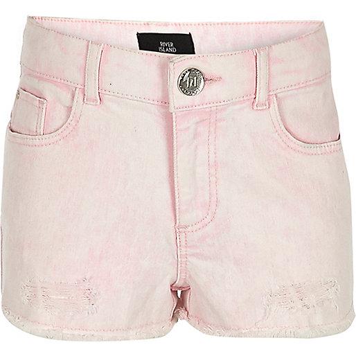 Girls pink denim boyfriend shorts