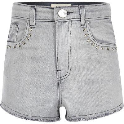 Grijze denim short met studs en hoge taille voor meisjes