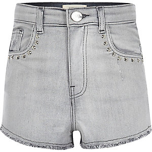 Girls grey studded high waisted denim shorts