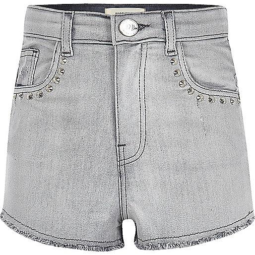 Girls grey studded high waisted denim shorts