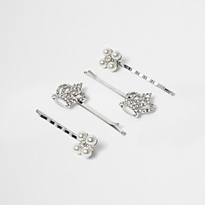 Girls silver tone crown hair clip multipack
