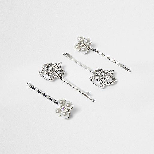 Girls silver tone crown hair clip multipack
