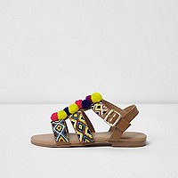 Girls brown beaded pom pom sandals