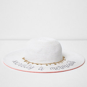 Girls cream 'mermaid' embroidered straw hat