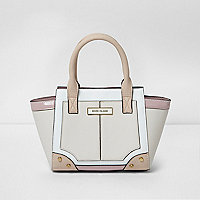 Girls cream panel winged tote bag