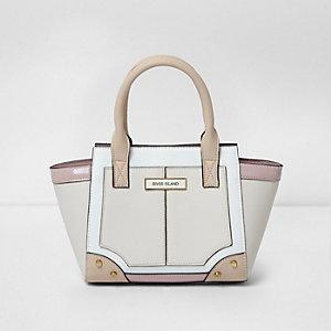 Crème handtas met panelen en zij-inzetten voor meisjes