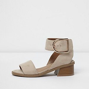 Girls beige block heel sandals