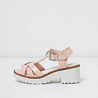 Girls pink T-bar chunky sandals