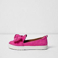 Girls pink bow plimsolls