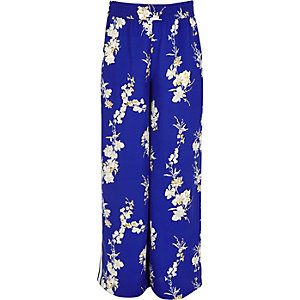 Girls blue floral print palazzo pants