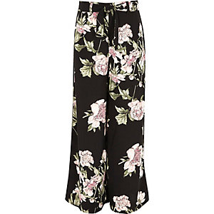 Girls black tie waist floral palazzo trousers