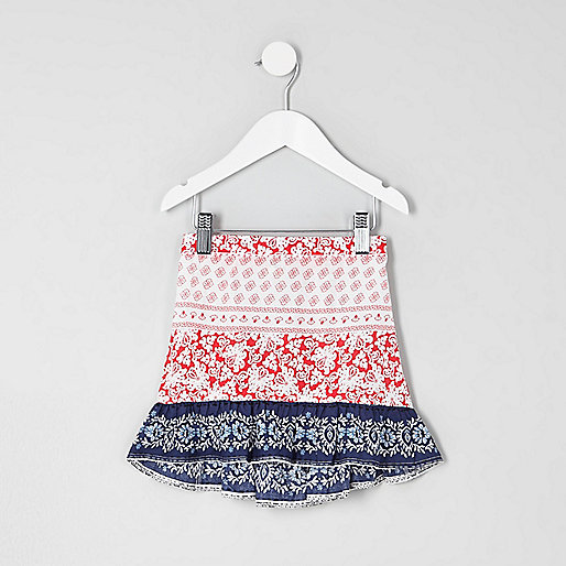 Mini girls red and blue print frill hem skirt