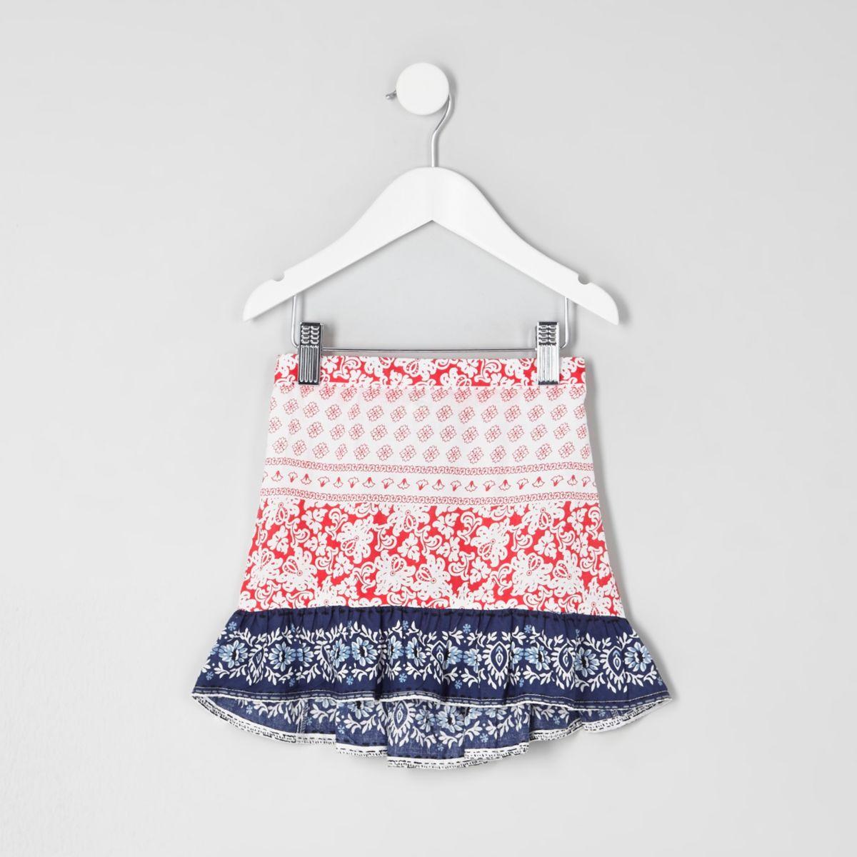 Mini girls red and blue print frill hem skirt