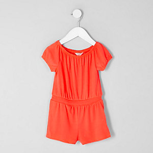 Mini girls coral bardot romper