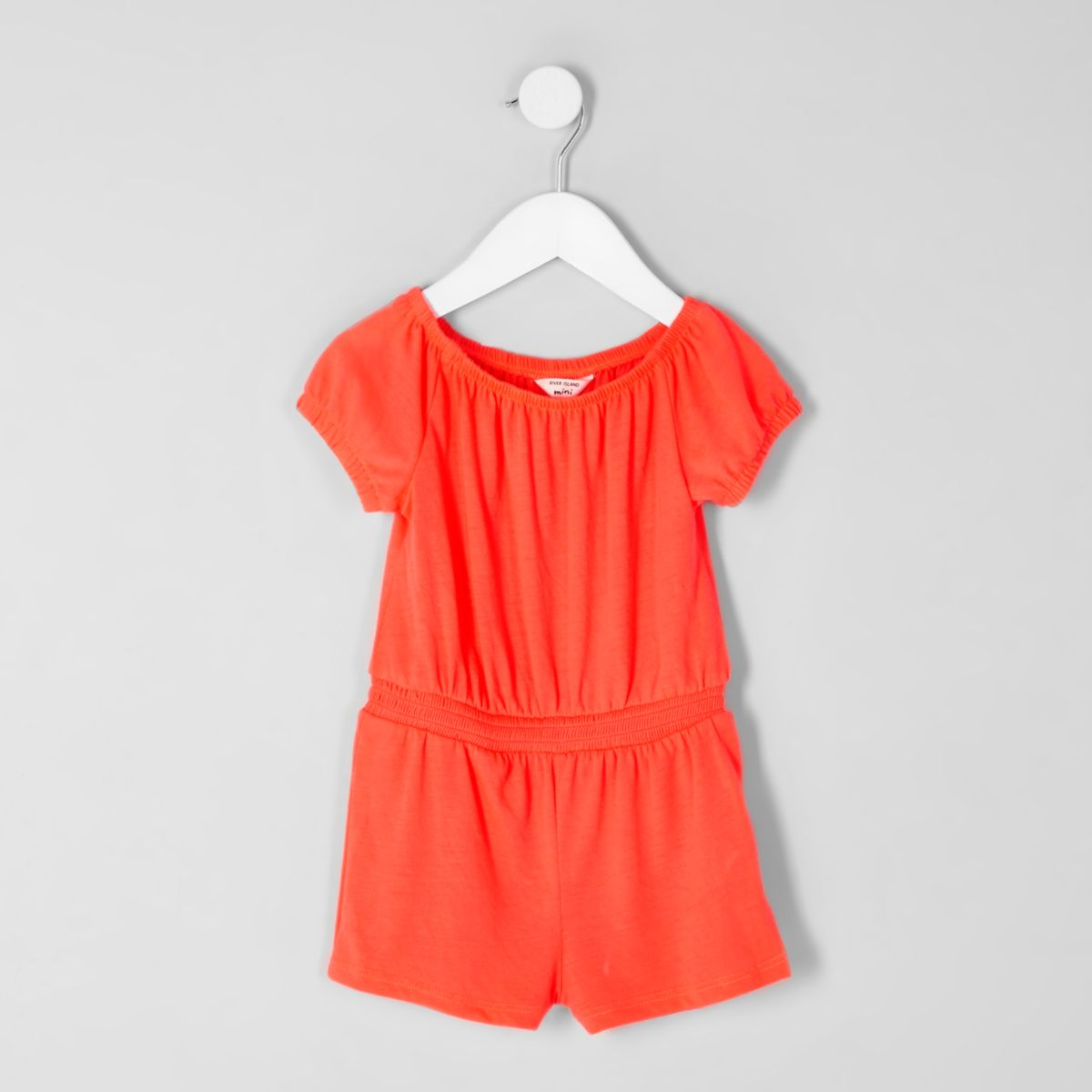 Bardot-Playsuit in Koralle