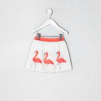 Mini girls white flamingo tutu skirt