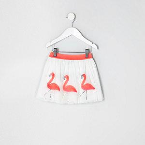 Weißer Tütü-Rock mit Flamingos