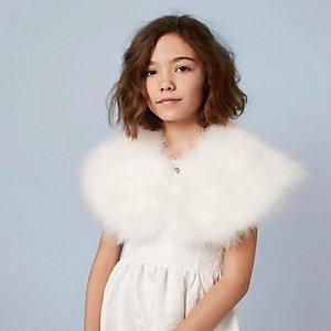 Crème cape met veren voor meisjes