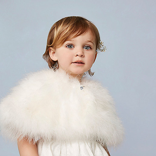 Mini girls cream feather cape
