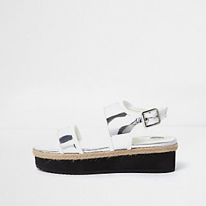Zilverkleurig metallic sandalen met plateauzool voor meisjes