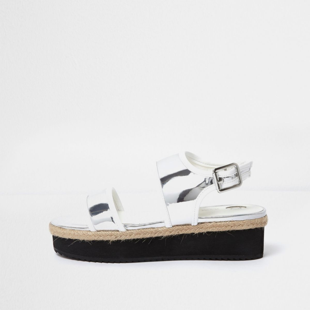 Girls metallic silver flatform sandals