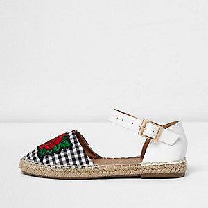 Girls white gingham espadrille sandals