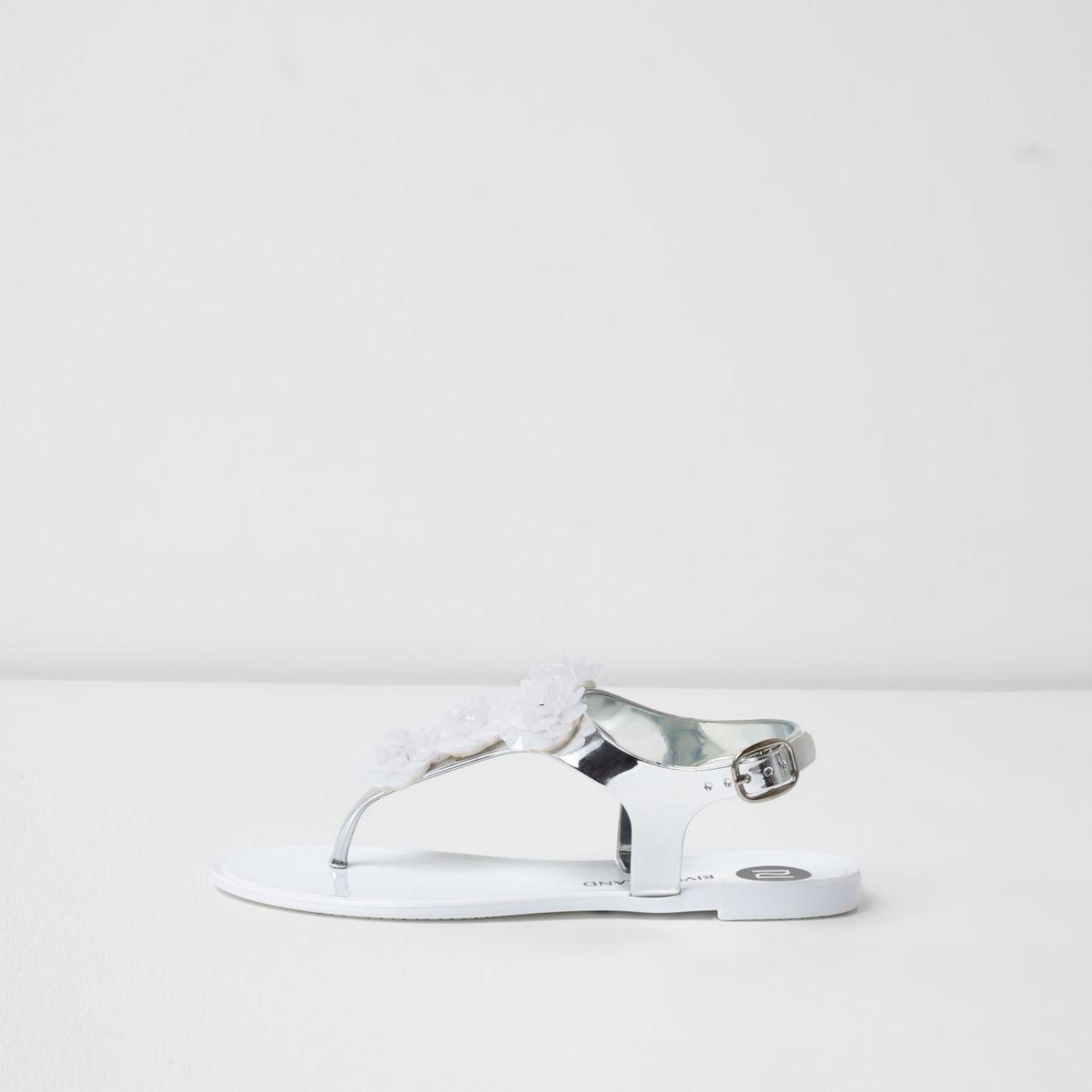 Jelly-Sandalen in Weiß und Silber mit Blumen