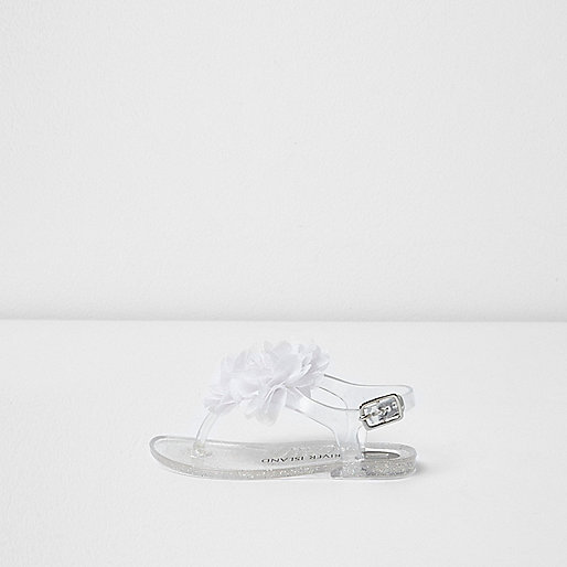 Mini girls silver corsage jelly sandals