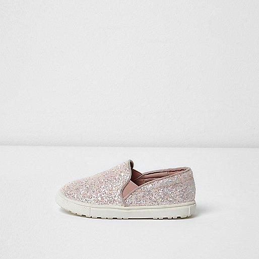 Mini girls pink glitter plimsolls