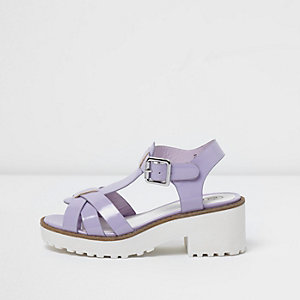 Girls ligh purple T-bar chunky sandals
