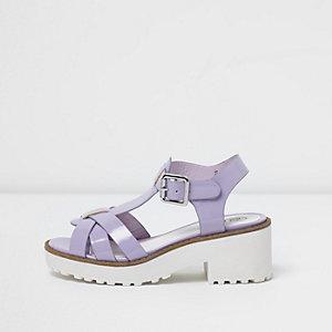 Sandales violet clair style salomé à semelle épaisse pour fille