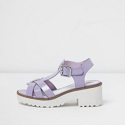 Girls ligh purple T-bar chunky sandals