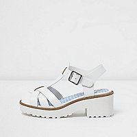 Girls white T-bar chunky sandals