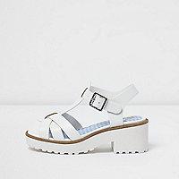 Girls white T-bar chunky sandals
