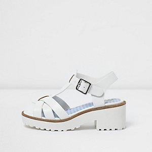 Sandales blanches style salomé à semelle épaisse pour fille